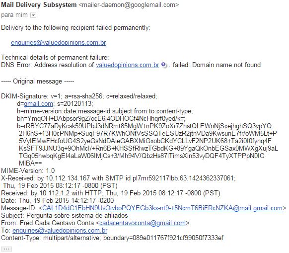 e-mail erro cada centavo conta opiniões de valor